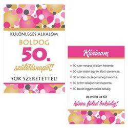 Boldog 50. Születésnapot! Rózsaszín Pasztell Konfettis Boros Üveg Címke
