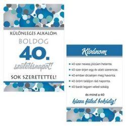 Boldog 40. Születésnapot! Kék Pasztell Konfettis Boros Üveg Címke