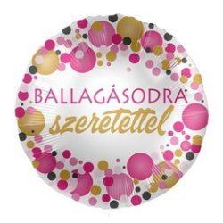 Ballagásodra Szeretettel Rózsaszín Pasztell Konfettis Héliumos Fólia Lufi, 43 cm