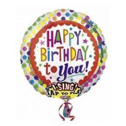 Éneklő happy birthday fólia lufi