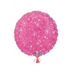 Rózsaszín Szikrázó - Csillag Mintás Kerek Héliumos Fólia Lufi, 46 cm