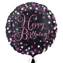 18 inch-es Happy Birthday Pink Celebration Prismatic Születésnapi Fólia Lufi
