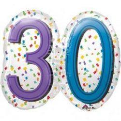 30-as Rainbow Birthday Szülinapi Számos Super Shape Fólia Lufi