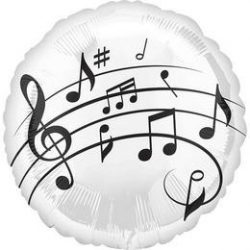 18 inch-es Music Fun - Violinkulcs - Hangjegyek Mintás Fólia Lufi