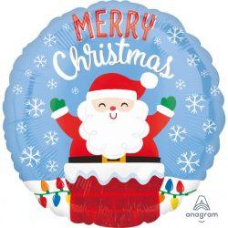 Santa in Chimney Karácsonyi Héliumos Fólia Lufi, 46 cm