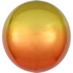 Sárga Narancssárga Ultra Shape gömb lufi