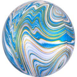 Márvány Mintás Fehér Kék Arany Gömb Héliumos, 40 cm