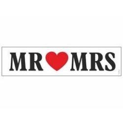 Mr és Mrs Szíves Esküvői Rendszámtábla - 50 cm x 11,5 cm