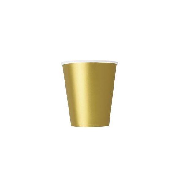 Gold Papír Parti Pohár - 270 ml, 8 db-os