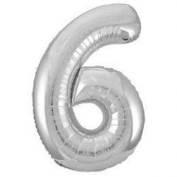 34 inch-es 6-os silver számos super shape fólia lufi