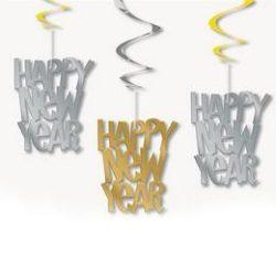 Happy New Year feliratú spirális függő dekoráció , 3 db-os