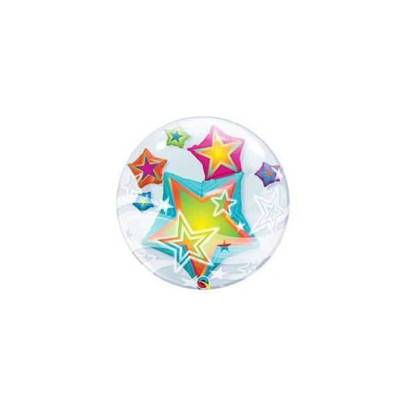 Csillagok Dupla Buborék Lufi, 61 cm