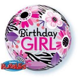 22 inch-es Birthday Girl Virágos Zebra Stripes Bubble Lufi