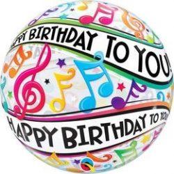 22 inch-es Happy Bday to You Music Szülinapi Bubble Lufi q13795