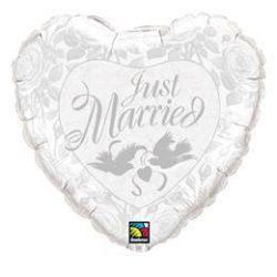 18 inch-es Just Married Szív Héliumos Fólia Lufi