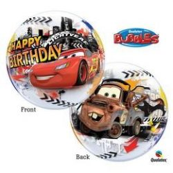 22 inch-es Disney Verdák - Cars Lightning McQuenn Birthday Szülinapi Bubbles Lufi