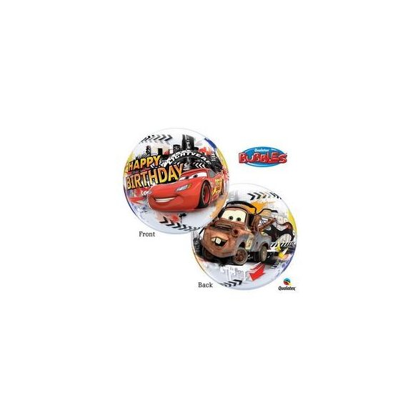 22 inch-es Disney Verdák - Cars Lightning McQuenn Birthday Szülinapi Bubbles Lufi
