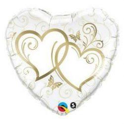 18 inch-es Entwined Hearts Gold Esküvői Szív Fólia Lufi