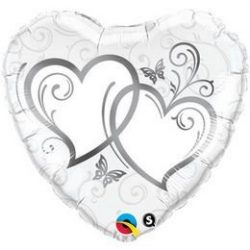 18 inch-es Entwined Hearts Silver Esküvői Szív Fólia Lufi