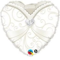 18 inch-es Wedding Gown Esküvői Szív Héliumos Fólia Lufi