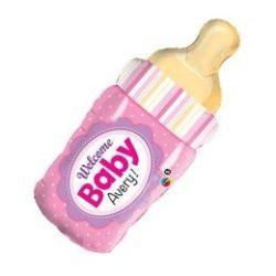 39 inch-es Welcome Baby Rózsaszín Cumisüveg Fólia Lufi Babaszületésre