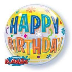 22 inch-es Birthday Fun & Yellow Bands Szülinapi Bubble Lufi