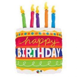 35 inch-es Birthday Cake & Candles Szülinapi Super Shape Héliumos Fólia Lufi