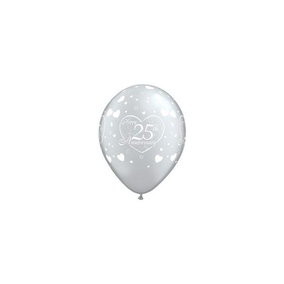 11 inch-es Happy 25th Anniversary Heart Silver Lufi Évfordulóra (6 db/csomag)
