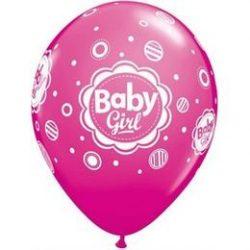 11 inch-es Baby Girl Dots - Pöttyös Pink Lufi Babaszületésre (6 db/csomag)