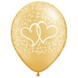 11 inch-es Entwined Hearts Gold Esküvői Lufi