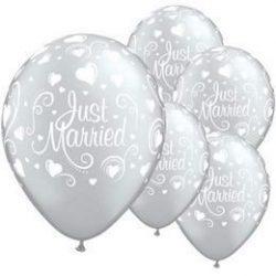 11 inch-es Just Married Hearts Lufi (6 db/csomag)