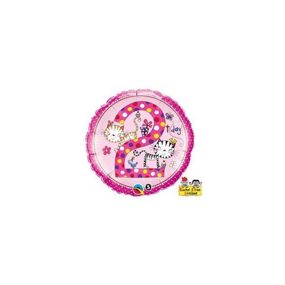 18 inch-es 2-es Számos Cicás Pöttyös Kittens Polka Dots Szülinapi Héliumos Fólia Lufi