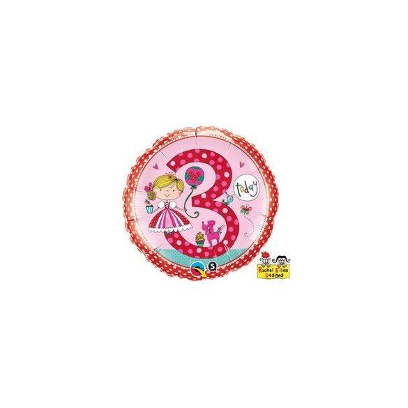 18 inch-es 3-as Számos Hercegnős Pöttyös Princess Polka Dots Szülinapi Fólia Lufi