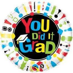 18 inch-es You Did It Grad! Ballagási Fólia Lufi
