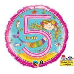 18 inch-es 5-ös Számos Sellő Pöttyös Mermaid Polka Dots Szülinapi Fólia Lufi