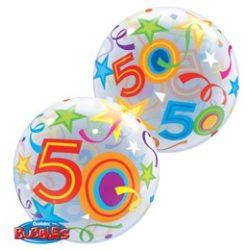 22 inch-es 50 Brilliant Stars Szülinapi Számos Bubble Lufi