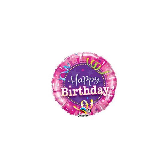 18 inch-es Rózsaszín - Birthday Hot Pink Szülinapi Fólia Lufi