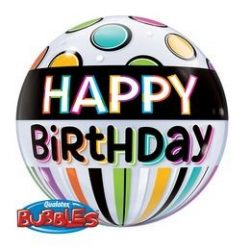 22 inch-es Birthday Black Band & Dots Szülinapi Bubbles Lufi