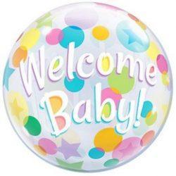Welcome Baby Buborék Lufi, 56 cm