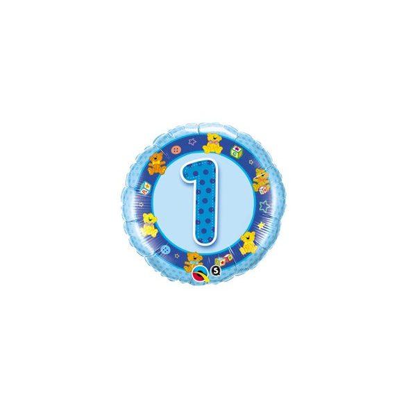 18 inch-es Kék Macik - Age 1 Blue Teddies 1. Szülinapi Számos Fólia Lufi