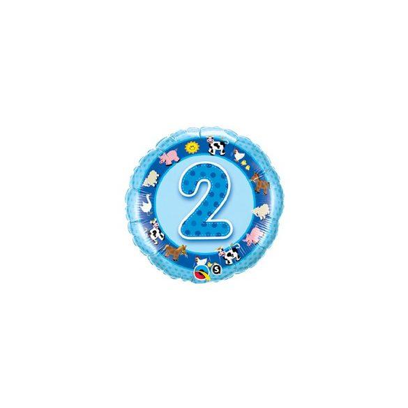 18 inch-es Házi Állatok Kék - Age 2-es Blue Farm Animals Szülinapi Számos Fólia Lufi 46cm