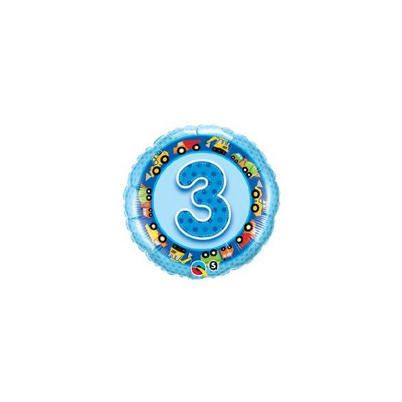 18 inch-es Kék - Age 3-as Blue Tracks and Diggers Szülinapi Számos Fólia Lufi