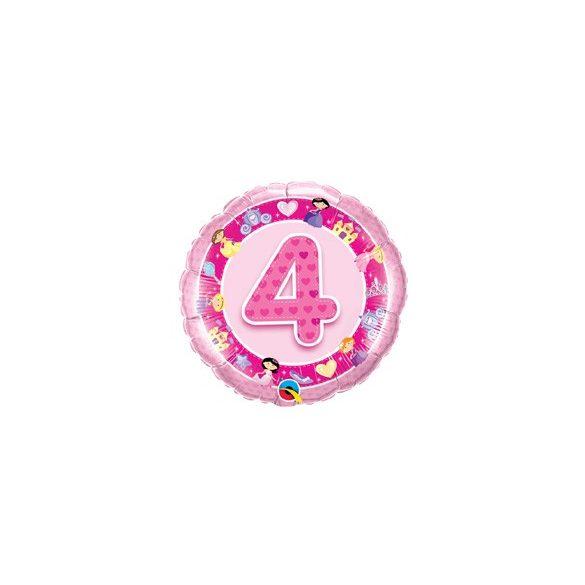 18 inch-es Rózsaszín - Age 4-es Pink Princess Szülinapi Számos Fólia Lufi