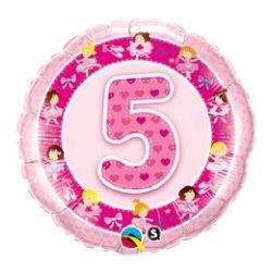 18 inch rózsaszín -Age 5 Ballerina szülinapi számos fólia lufi