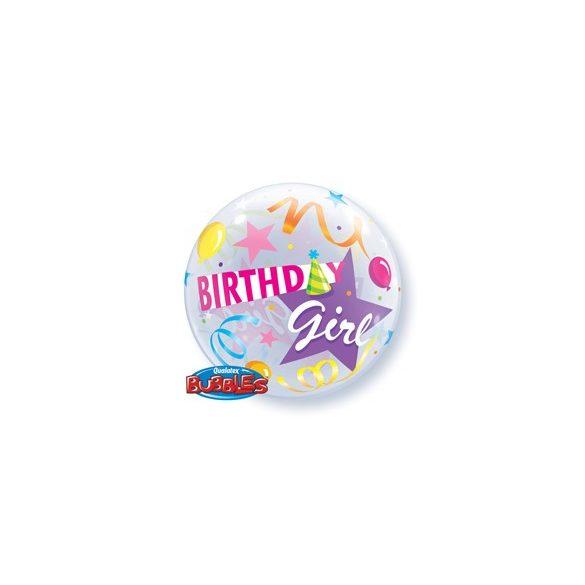 Birthday Girl Szülinapi Buborék Lufi, 56 cm