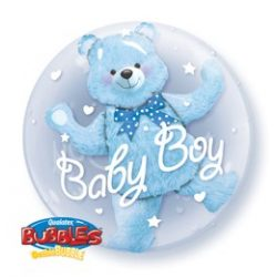 24 inch-es Baby Blue Bear Double Bubble Lufi Babaszületésre