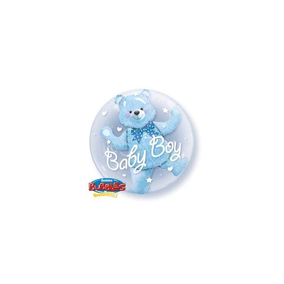 Dupla Buborék Lufi Kisfiú Babaszületésre - Kék Maci, 61 cm