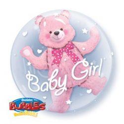 24 inch-es Baby Pink Bear Double Bubble Lufi Babaszületésre