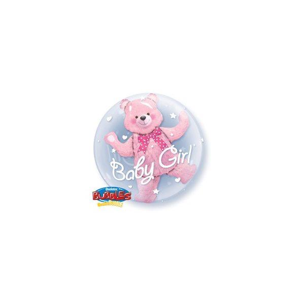 Dupla Buborék Lufi Kislány Babaszületésre - Pink Maci, 61 cm