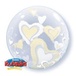 24 Inch white és Ivory szerelmes Double bubble lufi